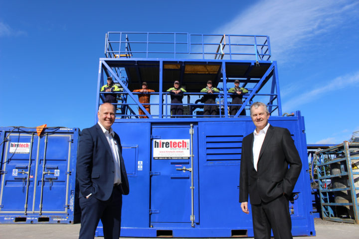 Keith Mackie MD left and Andy Buchan CEO right with some members of the Hiretech Team