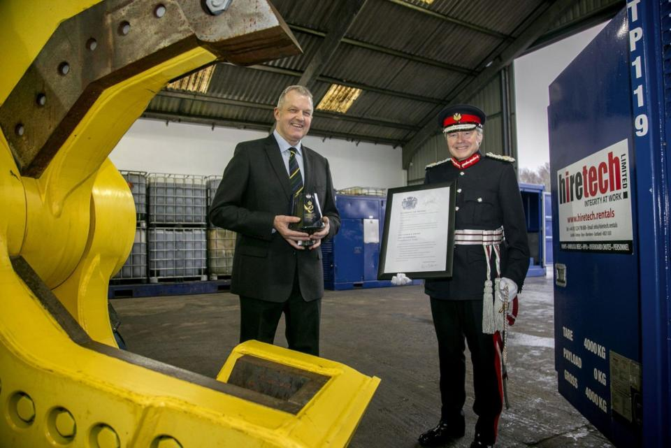 Lord Lieutenant of Aberdeenshire Sandy Manson presents Hiretech Limited CEO Andy Buchan with Queen's Award for Enterprise