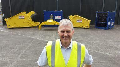 Hiretech CEO Andy Buchan With Subsea Shears and Grab